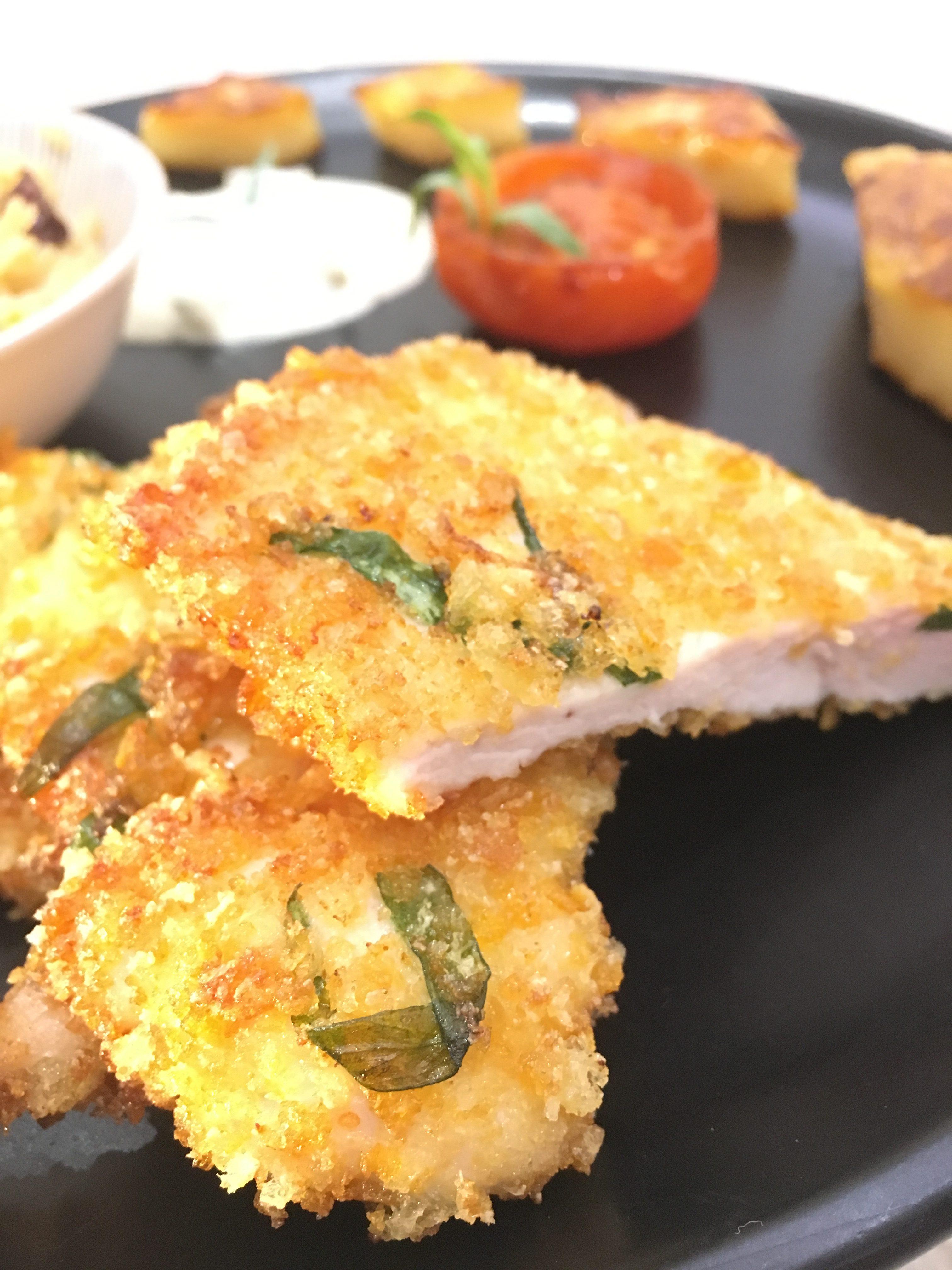 Croustillant de poulet à l'estragon et céleri rôti